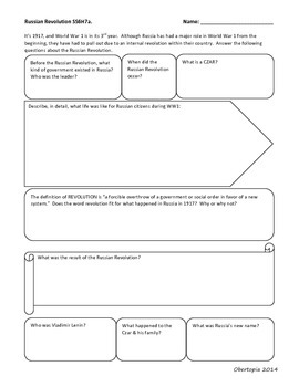 Russian Revolution Graphic Organizer SS6H7a.