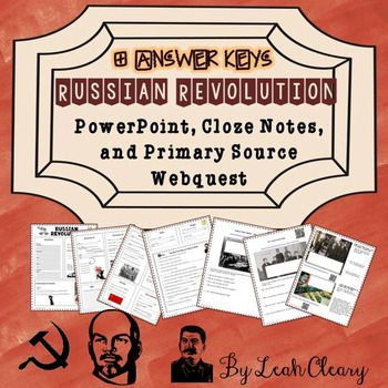 Russian Revolution PowerPoint, Cloze Notes, and Primary So