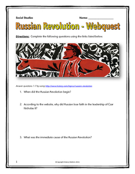 Printables Russian Revolution Worksheet russian revolution webquest with key by history matters com