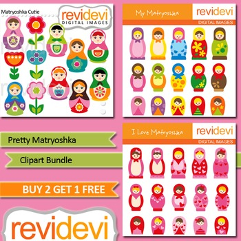 Russian dolls Matryoshka Clip art (3 packs)