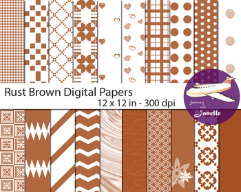 Rust Brown Digital Papers for Backgrounds, Scrapbooking, C
