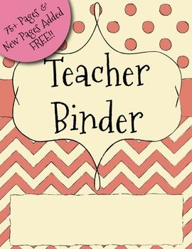 UPDATED Rust Red Chevron Teacher Binder Dividers, Calendar