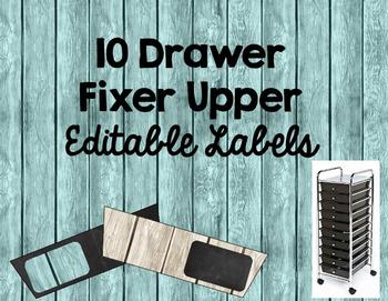 Editable Rustic 10 Drawer Rolling Cart Labels