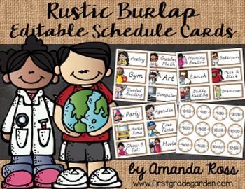 Rustic Burlap Editable Schedule Cards {with Matching Time Cards}