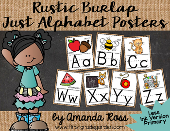 Rustic Burlap Just Alphabet Posters {Less Ink Version - Re
