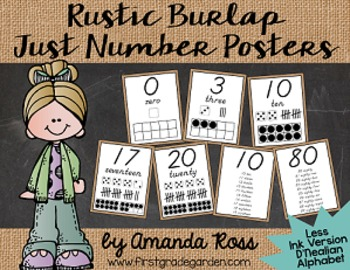 Rustic Burlap Just Number Posters {Less Ink Version - D'Nealian}