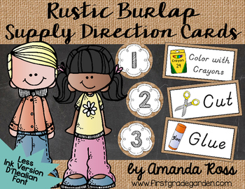 Rustic Burlap Supply Direction Cards {Less Ink Version - D