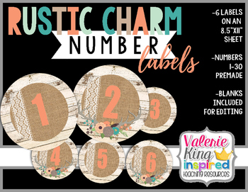 Rustic Charm Collection: Number Labels