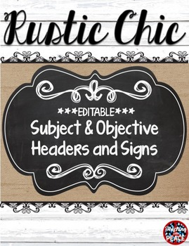 Rustic Chic Theme Learning Objectives Headers and Signs **