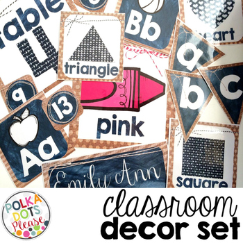 Rustic Classroom Decor Set featuring Burlap and Chalkboards