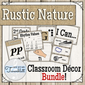 Rustic Nature Music Classroom Decor Bundle