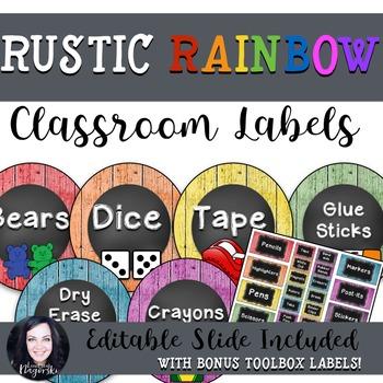 Rustic Rainbow Classroom Labels