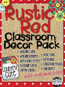 Rustic Red Classroom Decor - Red & White Dots, Burlap, Mas
