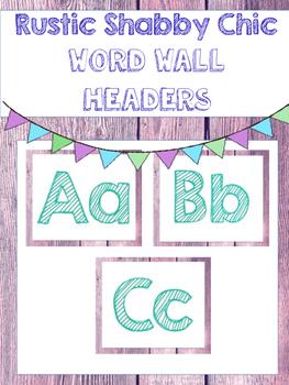 Rustic Shabby Chic Word Wall Headers