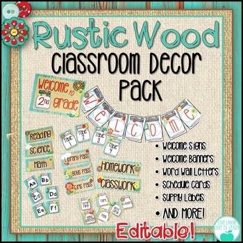 Rustic Wood Classroom Decor - Distressed Wood, Burlap, Mas