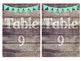 Rustic Wood & Teal Banner Table Numbers