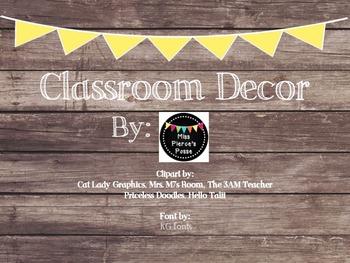 Rustic Wood & Yellow Banner Classroom Decor Bundle