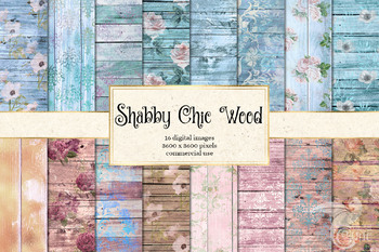 Rustic Wood and Lace Digital Scrapbook Paper, Shabby Chic