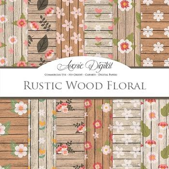 Rustic Wood flowers Digital Paper floral printable pattern