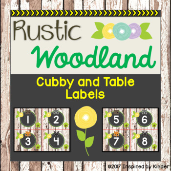 Rustic Woodland Animal Cubby and Table Labels