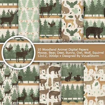 Rustic Woodland Digital Paper - 10 Woodland Animal Patterns