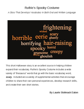 """Halloween Lesson Using Synonyms for """"Scary"""": Ruthie's Spoo"""