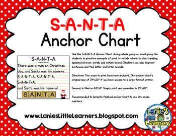 S-A-N-T-A Anchor Chart {Christmas Printable}