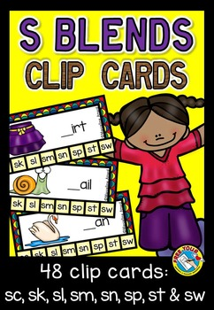 S BLENDS CLIP CARDS: PHONICS CENTER: S BLENDS ACTIVITIES: