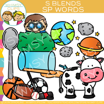 S Blends Clip Art - SP- Words
