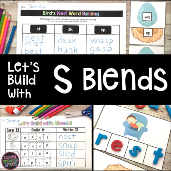 S Blends Word Work: Puzzles, Word Building Mats, & More