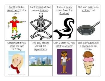 S Blends Sentence Flash Cards