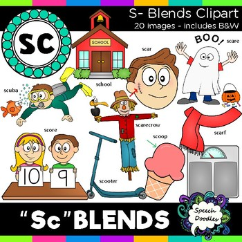 S Blends clipart - Sc words - 20 images for Personal and C