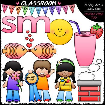 S Blends (sm) Phonics Clip Art - Consonants Clip Art