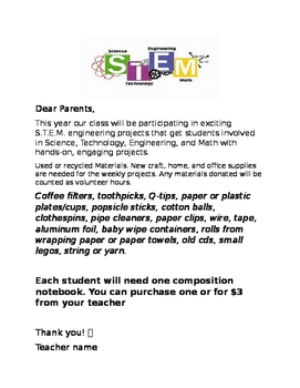 S.T.E.M. introduction letter for parents