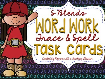 S blends Word Work Trace and Spell Task Cards