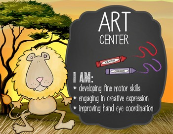 SAFARI - Classroom Decor: Center Signs, student cards
