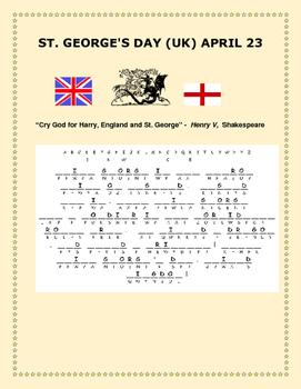 SAINT GEORGE'S DAY -APRIL 23RD- UK-CRYPTOGRAM