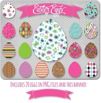 SALE- Easter Egg Clip Art, Commercial Use