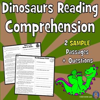 SAMPLE 2 Dinosaur Reading Comprehension Passages: Close Re