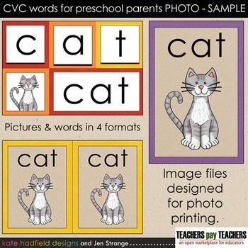 SAMPLE: CVC Words for Preschool Parents. Print as PHOTO