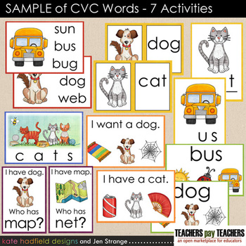 SAMPLE of CVC Words - 7 Activities designed for Photo Printing