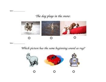 "SAT 10 Kindergarten ""Question of the Day"""
