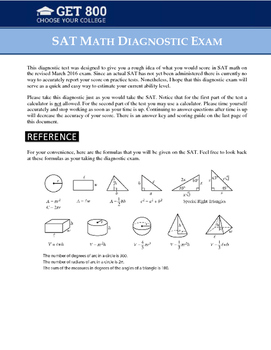 SAT Math Diagnostic Exam