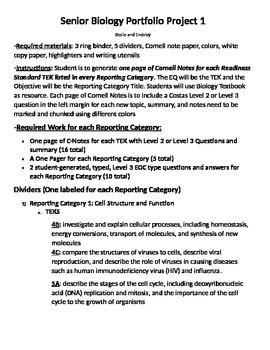 SB 149 Biology Senior portfolio project with explicit inst