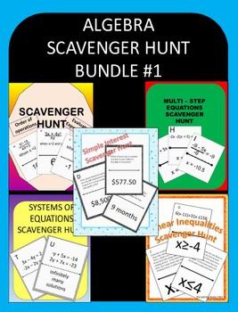 ALGEBRA SCAVENGER HUNT BUNDLE #1