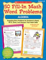 50 Fill-in Math Word Problems: Algebra