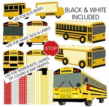 SCHOOL BUS CLIP ART * COLOR & BLACK AND WHITE