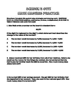 SCHOOL'S OUT!  Math Master's Break Practice