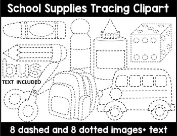 SCHOOL SUPPLIES TRACING CLIP ART