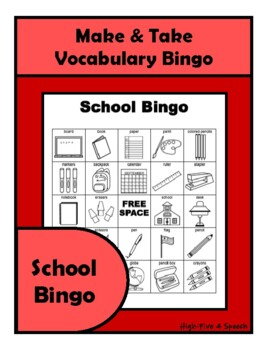 SCHOOL Vocabulary BINGO Make & Take, SPEECH THERAPY